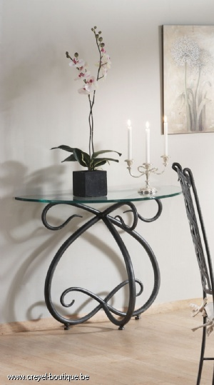 Table console- so unique! Love this iron piece!  Visit stonecountyironworks.com for more amazing wrought iron designs!