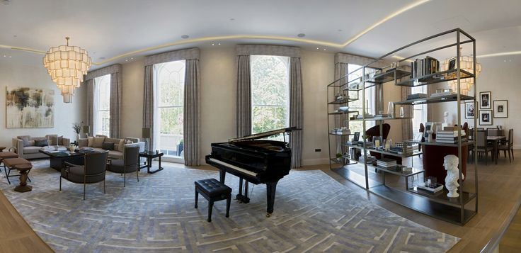 1508 London Park Crescent - luxury interior design, living room with grand piano.