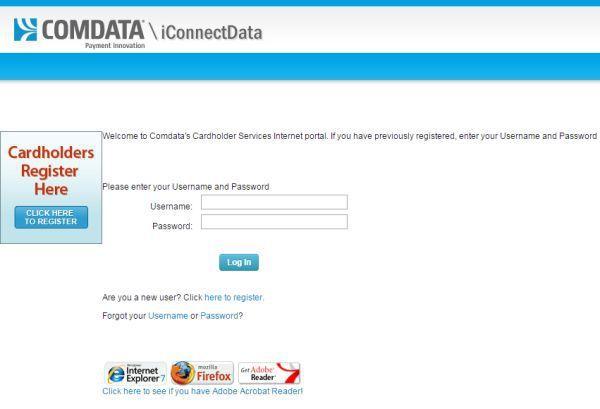 comdata cardholder login in
