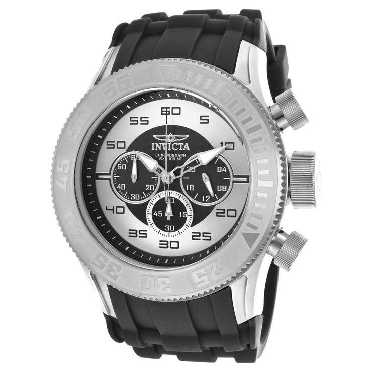 Invicta 14974 Men's Pro Diver Silver & Black Dial Chrono Black Rubber Band Watch