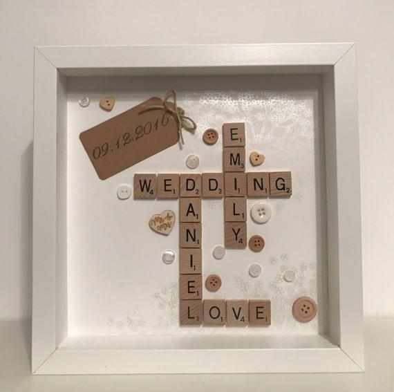 Personalised scrabble frame wedding gift