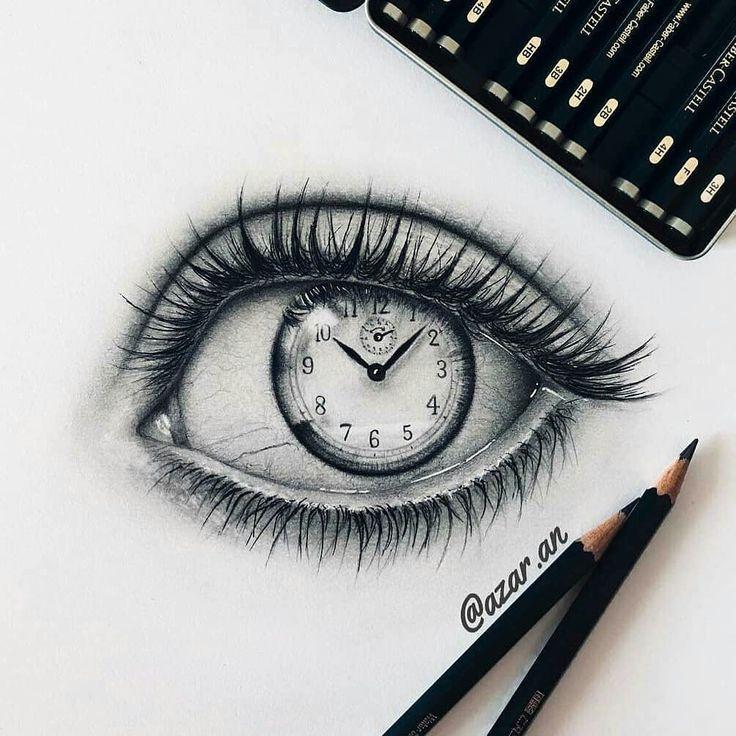 Auge mit Uhr als Pupille, #als #ArtSketchescreativepencil #Auge #mit #Pupille #Uhr