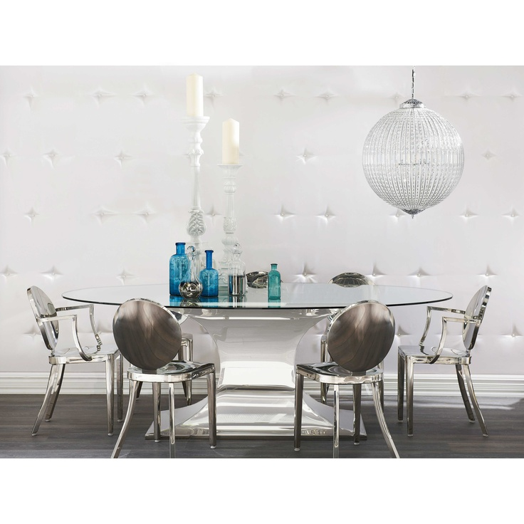 Dream Stainless Steel And Glass Top Dining Table From