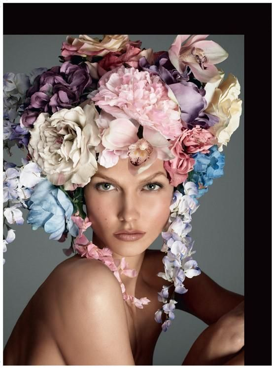 be beautiful: Karliekloss, Fashion, Italian Vogue, Inspiration, Karlie Kloss, Steven Meisel, Flowers, Hair, Floral