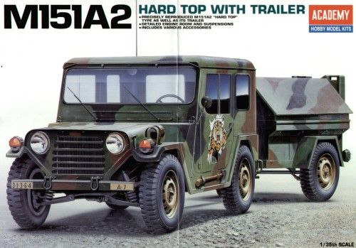 M151A2, Light Utility Truck Hard Top with Trailer. Academy, 1/35, injection, No.13012. Price: 12,59 GBP.