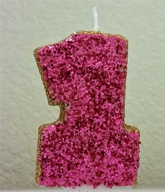 Pink & Gold Glitter number 0-9 Birthday Candle for princesses