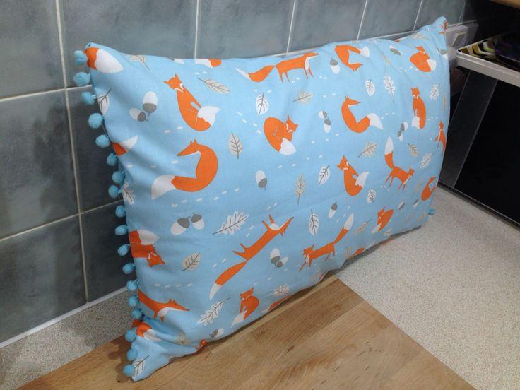 Fox cushion with Pom Pom trim
