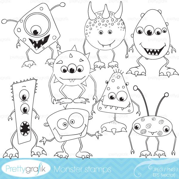 Monster stamps for fun crafts, coloring pages and more.