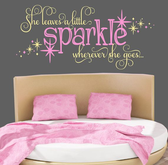 Wall Designs For Girls Room 21 creative accent wall ideas for trendy kids bedrooms Girls Room Nursery Decal She Leaves A Sparkle Wherever She Goes Girls Wall Decals Star Decal Girls Room Decor By Davisvinyldesigns On Etsy