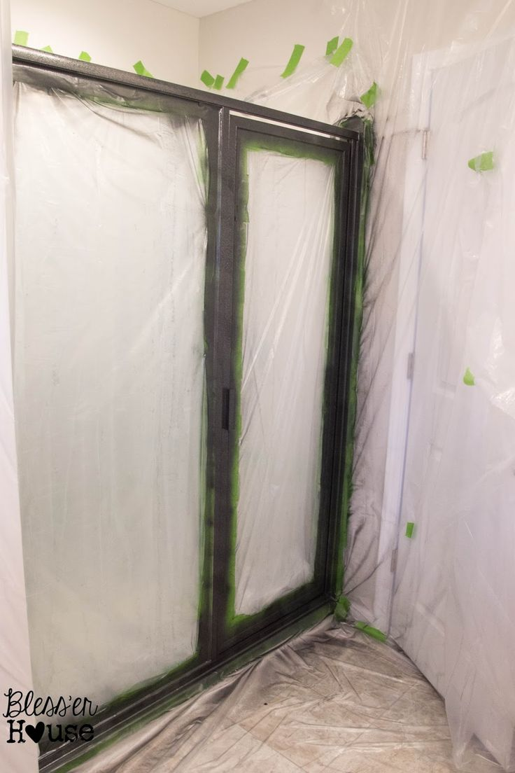 Bathroom lighting window wall paint curtain door outdoor shower - How Not To Paint A Shower Door And How To Fix Spray Paint Mistakes