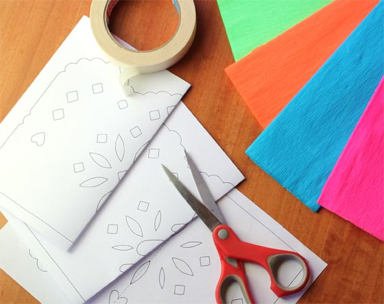 printable template for papel picado at Happy Thought