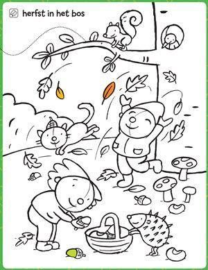 kleurplaat herfst in het bos kleurplaten herfst