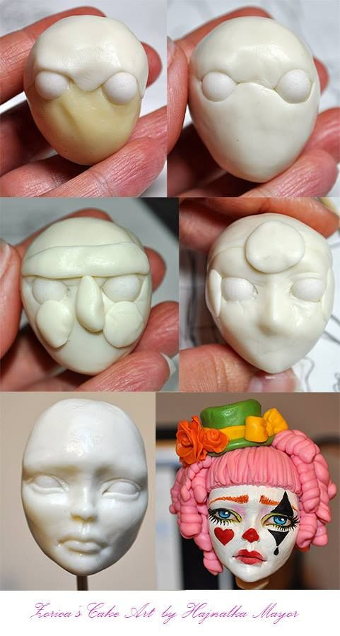 Modeling a face with modeling chocolate, gum paste and modeling chocolate - fondant mix by Hajnalka Mayor.