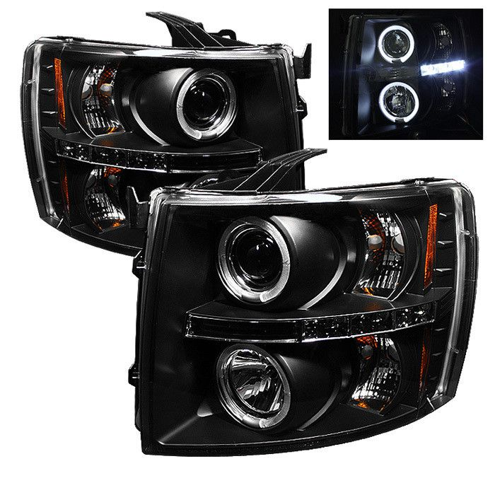 ( Spyder ) Chevy Silverado 1500 07-13 2500HD/3500HD 07-14 Projector Headlights - LED Halo - LED ( Replaceable LEDs ) - Black - High H1 (Included) - Low H1 (Included)