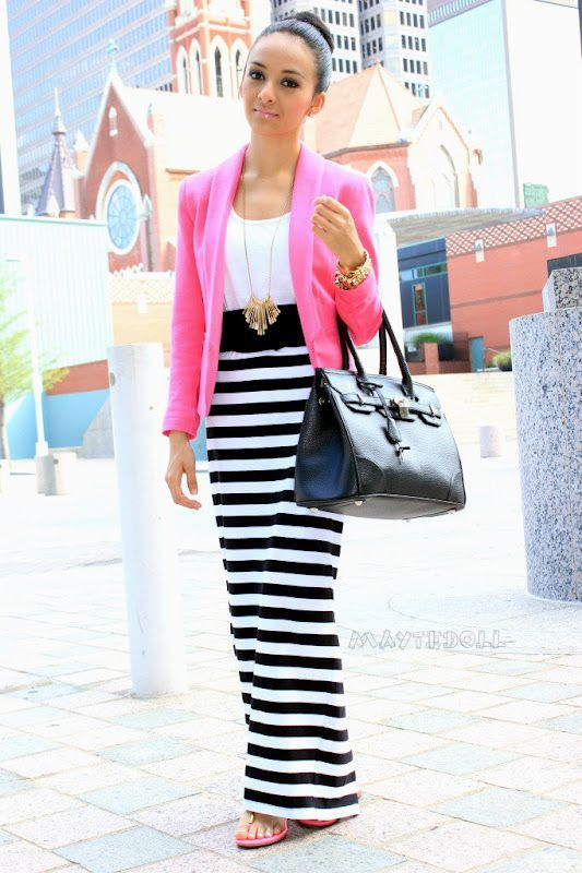 Pop of pink!: Outfits, Stripes Maxi Skirts, Summer Fashion, Pink Jacket, Style, Clothing, Stripes Skirts, Maxis, Pink Blazers