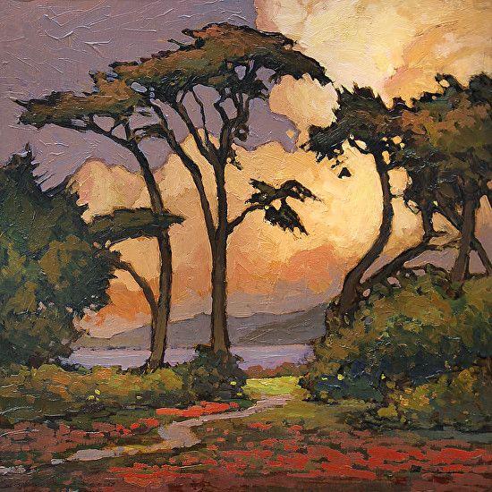 """Golden Light"" - Jan Schmuckal Tonalist Impressionist Artist  - Original oil on board- 12x12 - #Poppies"