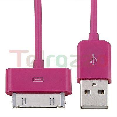 2X USB CABLE DE CARGADOR DATOS ROSA FUERTE PARA Apple IPOD CLASSIC MINI VIDEO