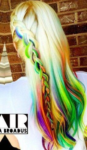 Blonde green braided rainbow dyed hair color @rainbowrage