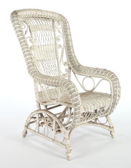 American Painted Wicker Platform Rocker In The Mannner Of Heywood & Wakefield Company  c.1900