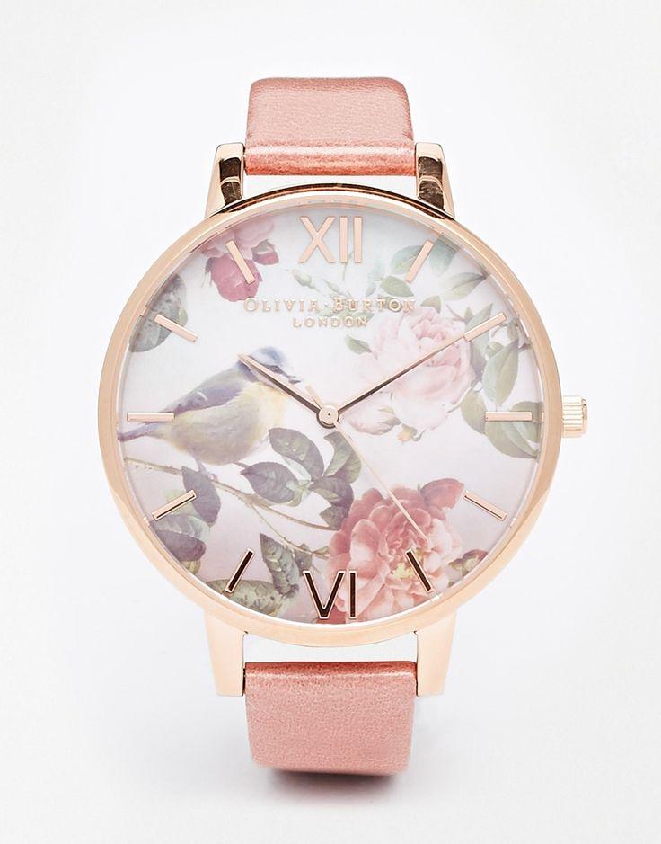 Olivia Burton – Wondland – Leder-Armbanduhr mit Blumen und übergroßem Ziffferblatt