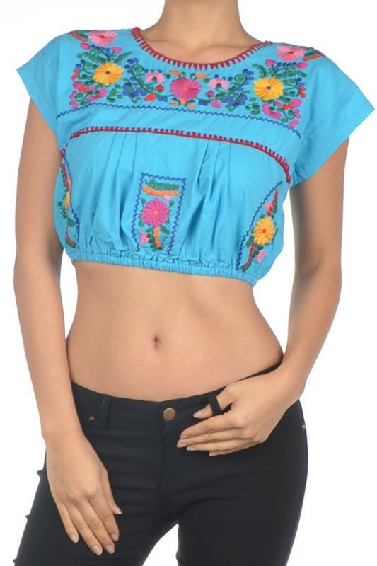 BOHO Turquoise Embroidered Festival Crop Top