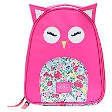 Buy Little Joule Owl Rucksack, Pink Online at johnlewis.com
