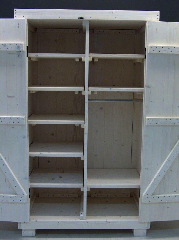 Kledingkast steigerhout met white-wash met 8 schap en 1 hang (1260120300KZ8W)   Kledingkasten van steigerhout   JORG`S Houten Meubelen