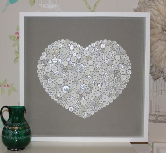 Large white box framed button heart artwork by pinkbuddhadesigns, £100.00