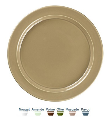 Dinner plate. 28x28x2 cm. For everyday use, solid and resistant, and which brings a touch of colour to the table. It is oven and dishwasher proof, and perfectly stackable.  Call 905·885·9250.