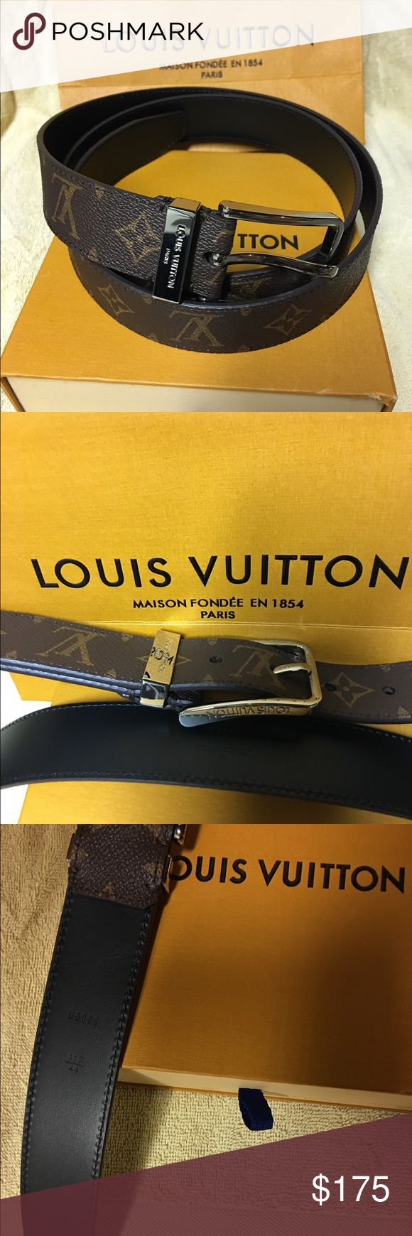 Louis Vuitton Pont Neuf 35MM size110 US Size 36/38 Featuring the emblematic monogram signature, this new entry price model enriches the maison's range of canvas belts. It's original loop signature echos the codes of the monogram motif, with an engraved Louis Vuitton Paris design Louis Vuitton Accessories Belts