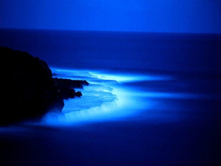 Blue sea at night