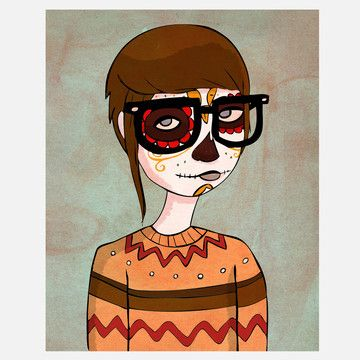 Nan Lawson is a genius. Day of the Dead Hipster 8x10. $11.25 (3 day sale on Fab)