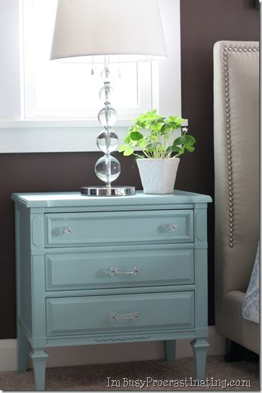 Turquoise painted nightstand with glass knobs and pulls {A}