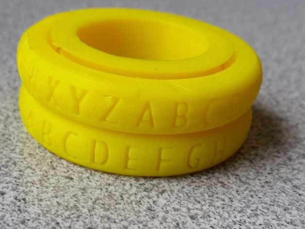 Mbridges 3D printed Caesar Cipher Decoder Ring Rounded by Cymon