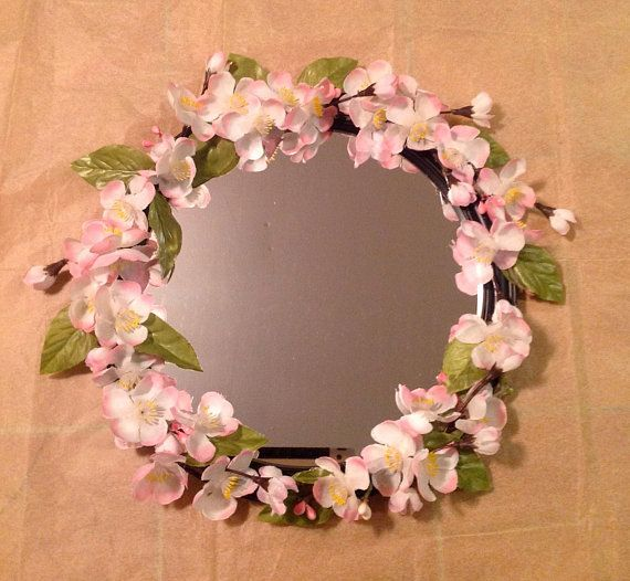 Round Mirror With Flowers Cherry Blossom Flowers Japanese Etsy Mirror Wall Decor Mirror Wall Bedroom Antique Mirror Wall