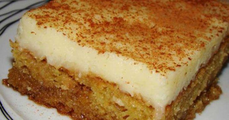 Μια συνταγή για ένα υπέροχο γλύκισμα. Απίστευτο αποτέλεσμα.Σιροπιαστή βάση με άρωμα μαστίχας και κρέμα ζαχαροπλαστικής πασπαλισμένη με κανέλα !!! Γ�
