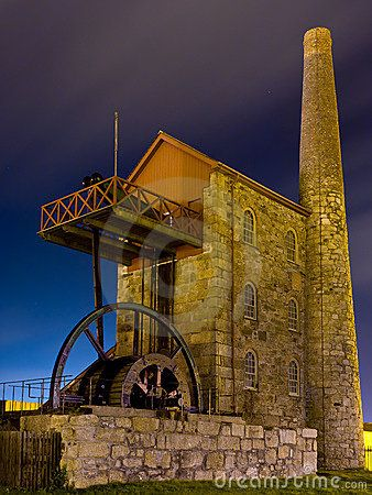 Cornish Engine house illuminated at night, Pool Redruth Cornwall England