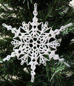 "Crochet - Free Pattern: ""Sparkly Crochet Snowflake Ornament"" - Level: intermediate."