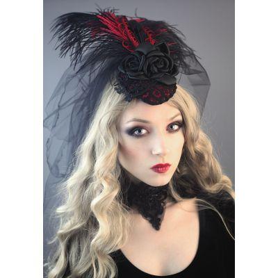 Fascynator Karmin z welonem gothic victorian