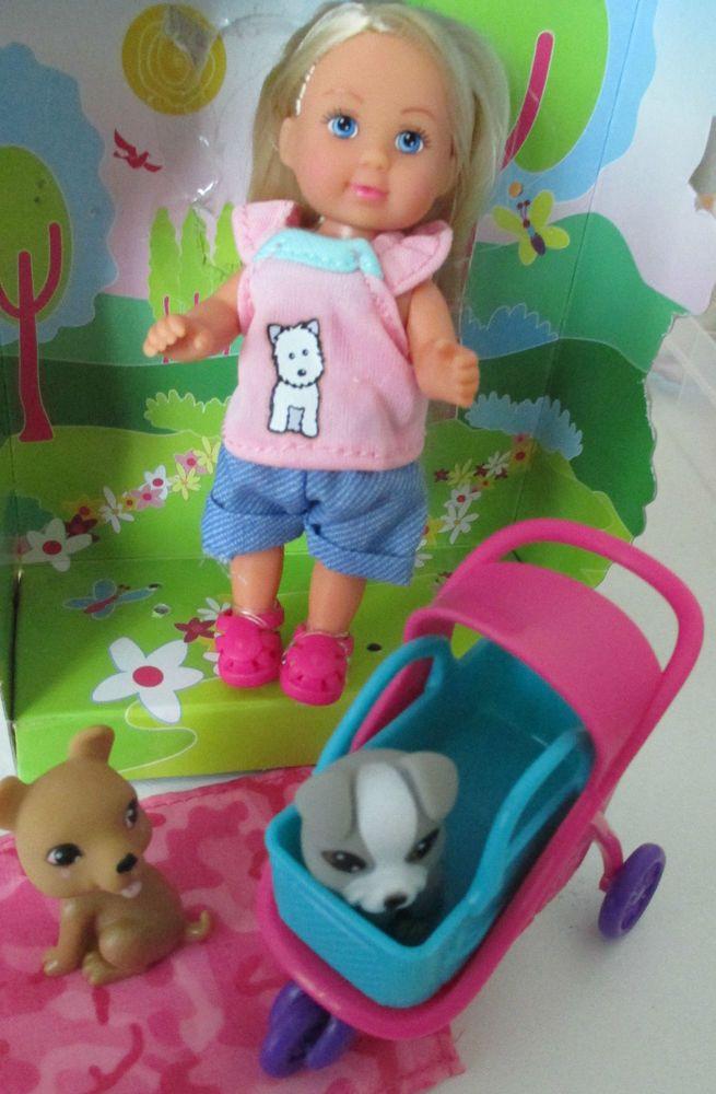 Evi animal buggy Hunde Ausflug mit Wagen Korb Decke für Steffi u Barbie Kinder