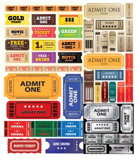 Europe and the United States movie ticket vector material