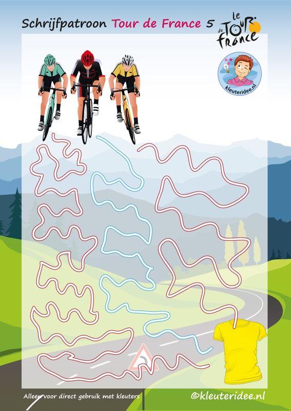 Schrijfpatroon, Tour de France 5, voor kleuters, kleuteridee, Writing pattern free printable.