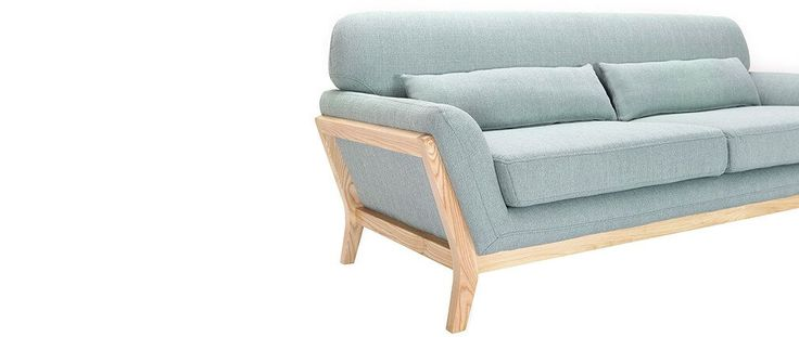 £544 YOKO 3-seater lagoon blue fixed sofa with wooden legs