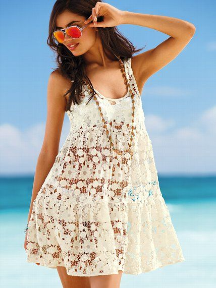 Victoria's Secret Beach Sexy Lace Cover-up Dress <3 A sheer delight. A flared silhouette gives our cover-up feminine appeal, while open-stitch lace shows hints of sun-kissed skin. From our fun, flirty Beach Sexy Swim Collection <3 #VictoriasSecret