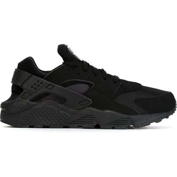 Nike Air Huarache Sneakers ($147) ❤ liked on Polyvore featuring shoes, sneakers, nike, black, nike footwear, black rubber sole shoes, laced sneakers, rubber sole shoes and lace up shoes