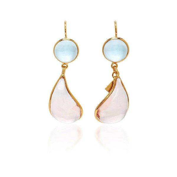 Loulou de la Falaise     24K Gold Plated Drop Earrings ($300) ❤ liked on Polyvore featuring jewelry, earrings, pink, drop earrings, gold plated drop earrings, 24 karat gold jewelry, pink jewelry and pink earrings