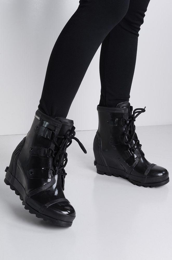 65d21f678f3e SOREL Booties Joan Rain Wedge Black Gloss Boots Waterproof Rubber Lace Up  7.5  SOREL  PlatformsWedges