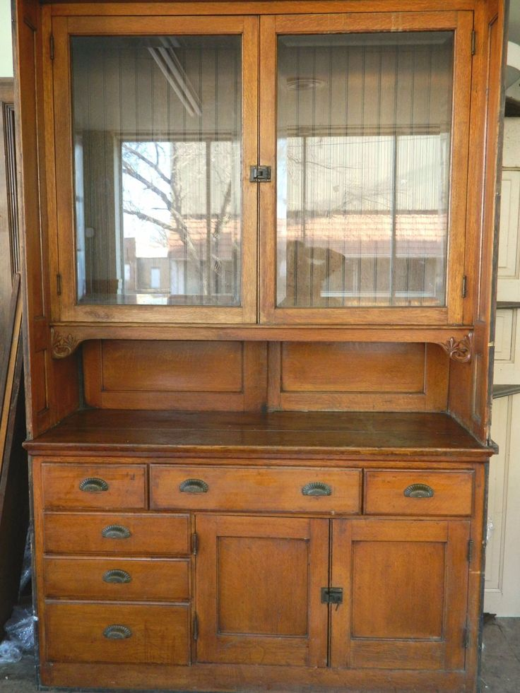 Antique buffet victorian sideboard built in buffet cabinets oak hutch salvage ebay