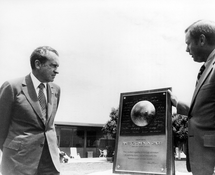 Apollo 11 Commander Armstrong Presents President Richard Nixon With Commemorative Plaque (6/4/1974): Plaques 6 4 1974, Presidents Richard, Apollo 11, 11 Command, Richard Nixon, U.S. Presidents, Command Armstrong, Commemor Plaques