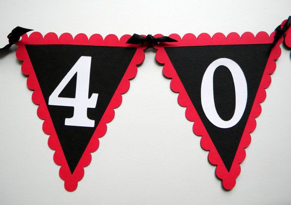 40th Birthday Pennant Banner - 40 ROCKS, Red, Black, White or Your choice of colors